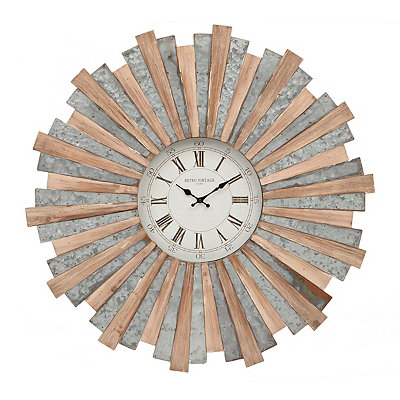 Logan Wood and Galvanized Metal Clock