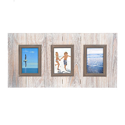Whitewash Wood Plank 3-Opening Collage Frame