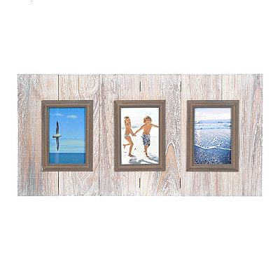 Whitewash Wood Plank 3-Opening Collage Frame