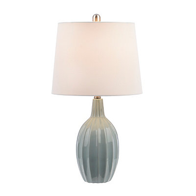 Spa Blue Fluted Gourd Table Lamp
