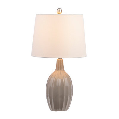 Gray Fluted Gourd Table Lamp