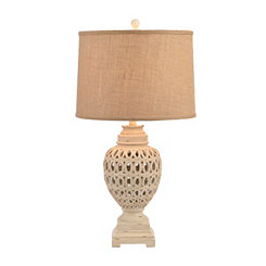 White Wash Open Rings Table Lamp