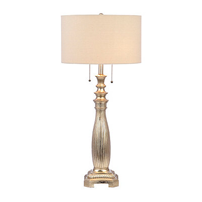 Silver Leaf Fluted Table Lamp