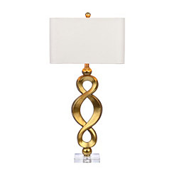 Braided Gold and Crystal Table Lamp