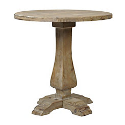 Natural Wooden Round Pedestal Accent Table