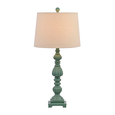 Teal Ribbed Candlestick Table Lamp