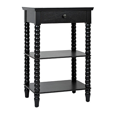 Black Bobbin Wooden Side Table