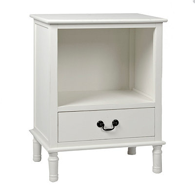 White Side Table with Lower Fixed Drawer