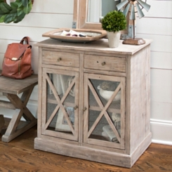 Weathered Crossed Glass Cabinet