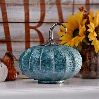 Turquoise Foil Glass Pumpkin, 8 in.