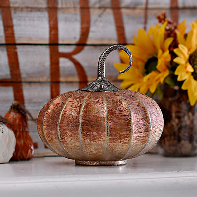 Amber Foil Glass Pumpkin, 8 in.