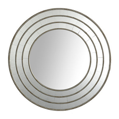 Silver Beaded Steps Round Mirror