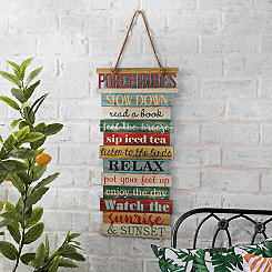 Porch Rules Hanging Wood Plank Plaque