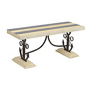 Navy and White Striped Anchor Bench