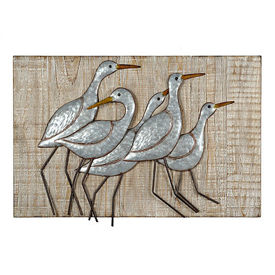 Coastal Sand Pipers Metal and Wood Plaque