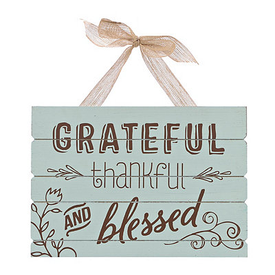 Grateful Thankful Wooden Plaque