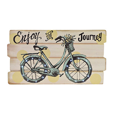 Enjoy the Journey LED Bike Wood Plank Plaque