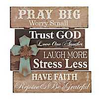 Pray Big Wood Plank Plaque