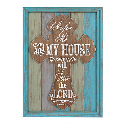 Distressed Cross Framed Wooden Plaque