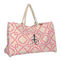 Pink Green Hills Monogram A Tote Bag
