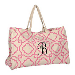 Pink Green Hills Monogram B Tote Bag