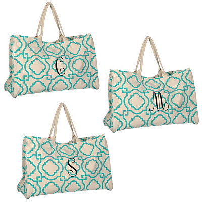 Turquoise Green Hills Monogram Tote Bags