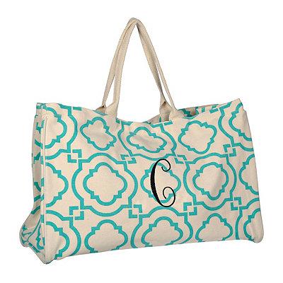 Turquoise Green Hills Monogram C Tote Bag