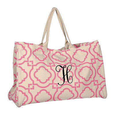 Pink Green Hills Monogram H Tote Bag
