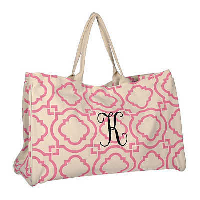 Pink Green Hills Monogram K Tote Bag