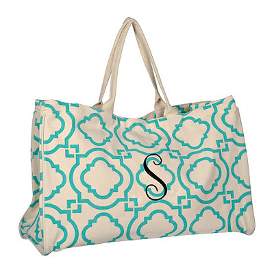 Turquoise Green Hills Monogram S Tote Bag