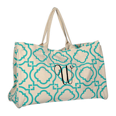 Turquoise Green Hills Monogram W Tote Bag