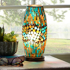 Turquoise and Brown Mosaic Uplight