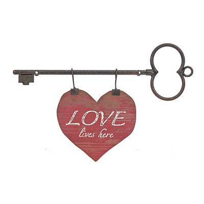 Love Lives Here Heart and Key Wall Plaque