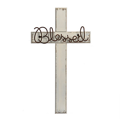 Blessed Wire Wooden Cross