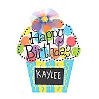 Happy Birthday Chalkboard Cupcake Wooden Plaque