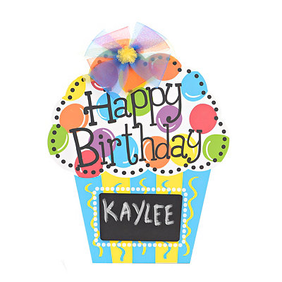 Happy Birthday Chalkboard Cupcake Wooden Plaque