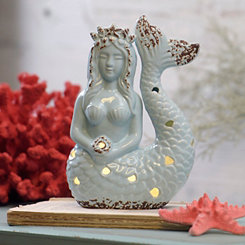 Blue Ceramic Mermaid Night Light