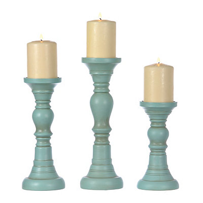Simple Distressed Turquoise Candlesticks, Set of 3