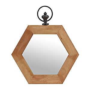 Natural Hexagon Wooden Mirror