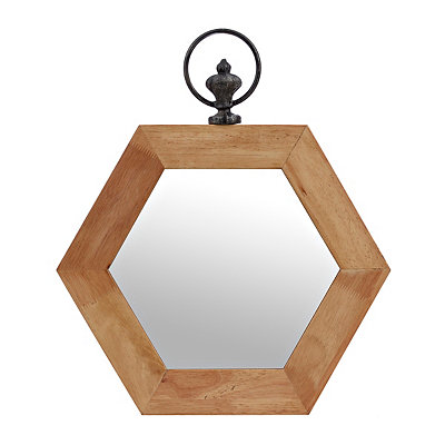 Natural Hexagon Wooden Mirror
