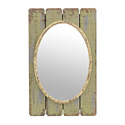 Wood Plank Oval Mirror