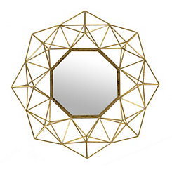 Brushed Gold Geometric Mirror
