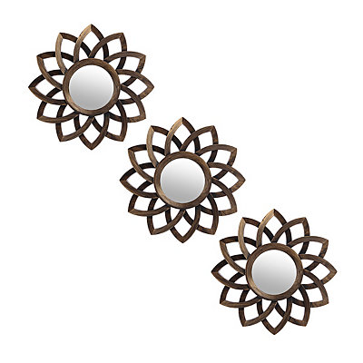 Brushed Gold Bloom Mirrors, Set of 3