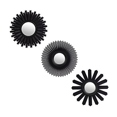 Black Multi Starburst Mirrors, Set of 3