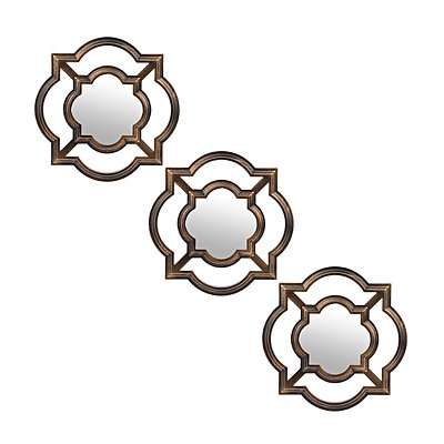 Gold Cutout Quatrefoil Mirrors, Set of 3