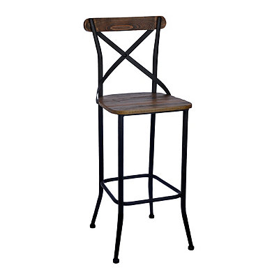 Rustic Elm Wood Bar Stool