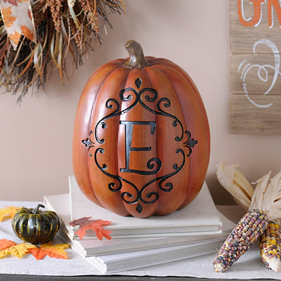 Orange & Black Monogram E Pumpkin