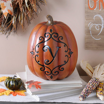 Orange & Black Monogram Y Pumpkin