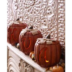 Pre-Lit Monogram Pumpkins with Burlap Bows