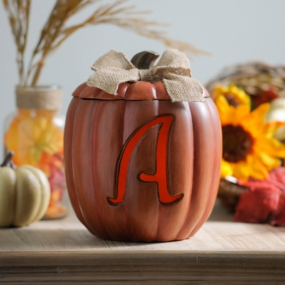 Pre-Lit Monogram A Pumpkin with Burlap Bow